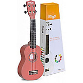 Stagg Soprano Ukulele US LIPS with Nylon Bag Red