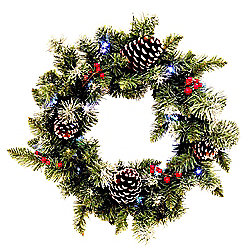Pre Lit Cone and Berries Christmas Wreath, 51cm (20 LEDs)
