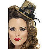 Gold Mini Top Hat With Feather
