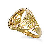 Jewelco London 9ct Solid Gold Half Round St George Sovereign coin mount Ring