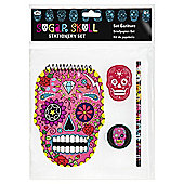 Sugar Skull Stationery Set, Includes Notebook, Sharpener, Pencil & Eraser