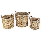 Water Hyacinth Set Of 3 Twist Weave Baskets With Handles