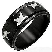 Urban Male Star Design Black Stainless Steel Spinning / Worry Ring For Men