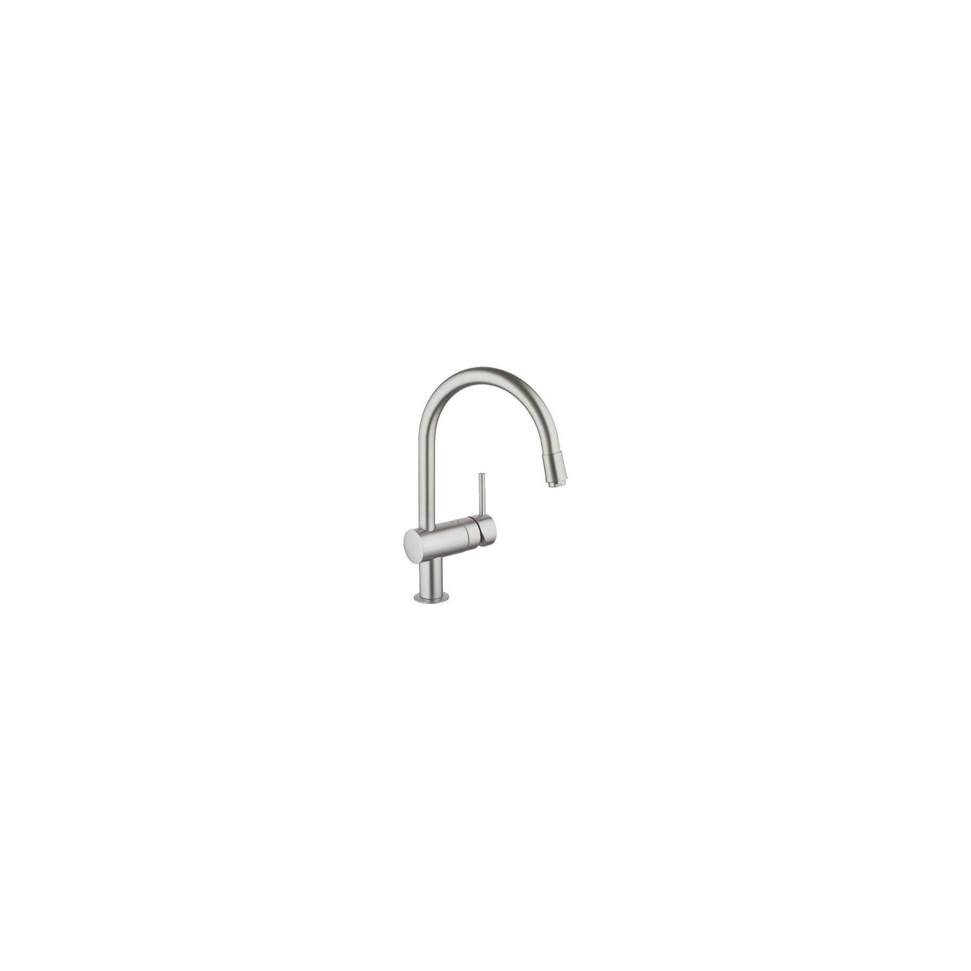 Grohe Minta Mono Sink Mixer Tap, Pull-Out C-Spout, Single Handle, SuperSteel at Tesco Direct