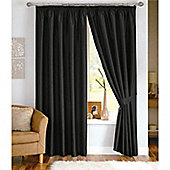 Dreams and Drapes Java 3 Pencil Pleat Lined Faux Silk Curtains (inc. t/b) 66x90 inches (168x228cm) - Black