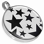 Urban Male Stainless Steel Multi Star Black & White Pendant For Men