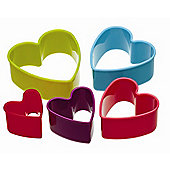 Kitchen Craft Five Piece Heart Shaped Coloured Cookie Cutter Set