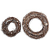 Natural Twig Handmade Christmas Wreath With Star Detail - Small and Large Pair