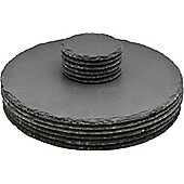Argon Tableware Round Natural Slate Placemat Set - 6 Coasters & 6 Placemats