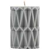 Moroccan Pillar Candle Small Light Grey