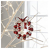 Gisela Graham Jingle Bell Wreath Red White Hanging Decoration