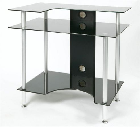 Jual Furnishings Small Computer Desk with Black Glass