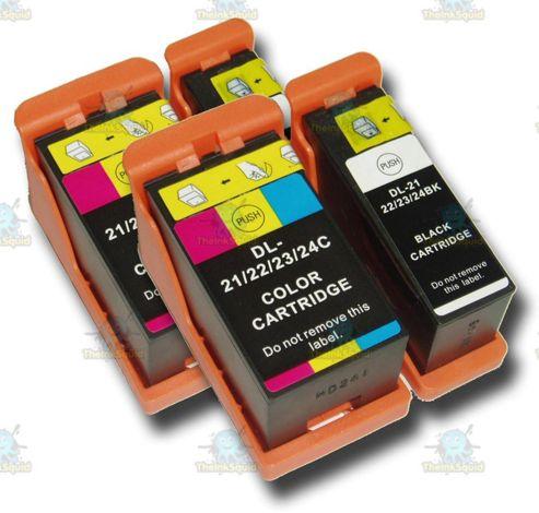 4 Dell 21/22/23/24 Non-OEM Ink Cartridges for P513W P713W V313 V313W V515W V715W