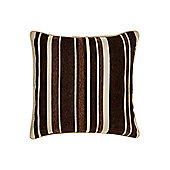 Linea Stripe Chenille Cushion, Chocolate In Chocolate