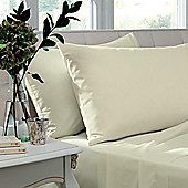 Catherine Lansfield Non Iron Percale Combed Poly-Cotton Flat Sheets in Cream - Super King