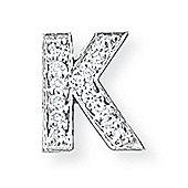 Jewelco London 9ct White Gold - Diamond - K' Initial Charm Pendant -