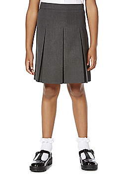 F&F School Girls Permanent Pleat Plus Fit School Skirt - Grey