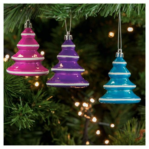 Tesco Bright Christmas Trees Hanging Decoration, 4 pack