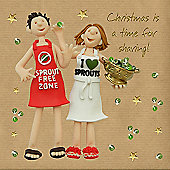 Holy Mackerel Greeting Card - Christmas Card - A Time For Sharing, Brussel Sprouts