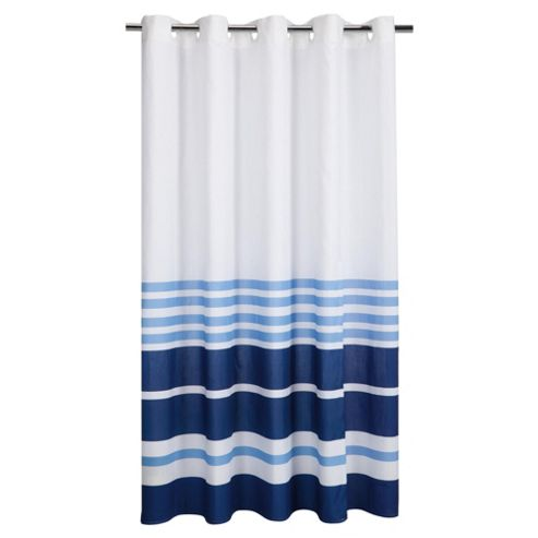 Tesco Nautical Stripe Shower Curtain Blue