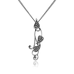 Gemondo Sterling Silver 0.17ct Marcasite Art Nouveau Heart Pendant on Chain