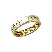 "Sterling Silver with 9ct Gold Overlay Diamond Set Ring Message - ""Only true friends leave pawprints in your heart"""