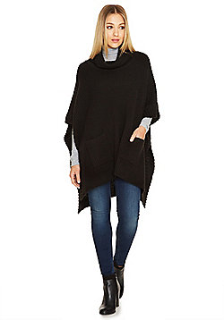 F&F Fisherman Knit Cowl Neck Poncho - Black