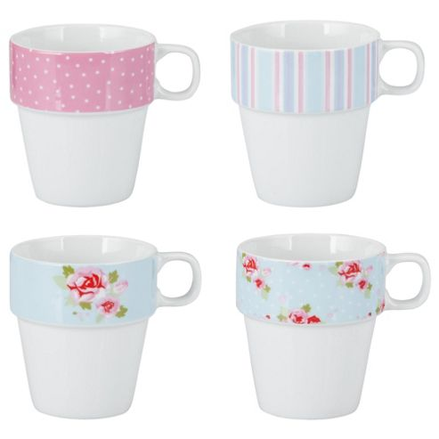 Tesco English Rose Set of 4 Porcelain Stacking Mugs