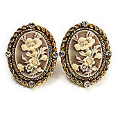 Antique Gold Floral Cameo Clip-On Earrings