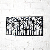 Black Metal Tree Design Wall Tea Light Holder Five Holders