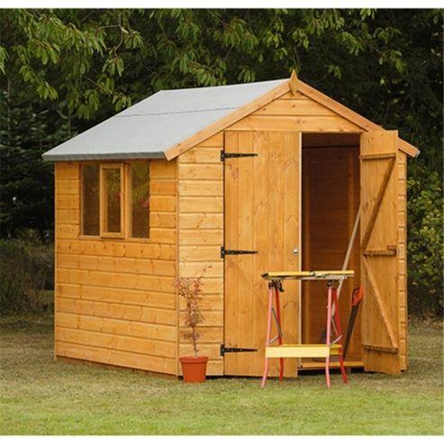 Buy 8 x 6 rock heavy duty shiplap shed garden wooden shed for Garden shed tesco