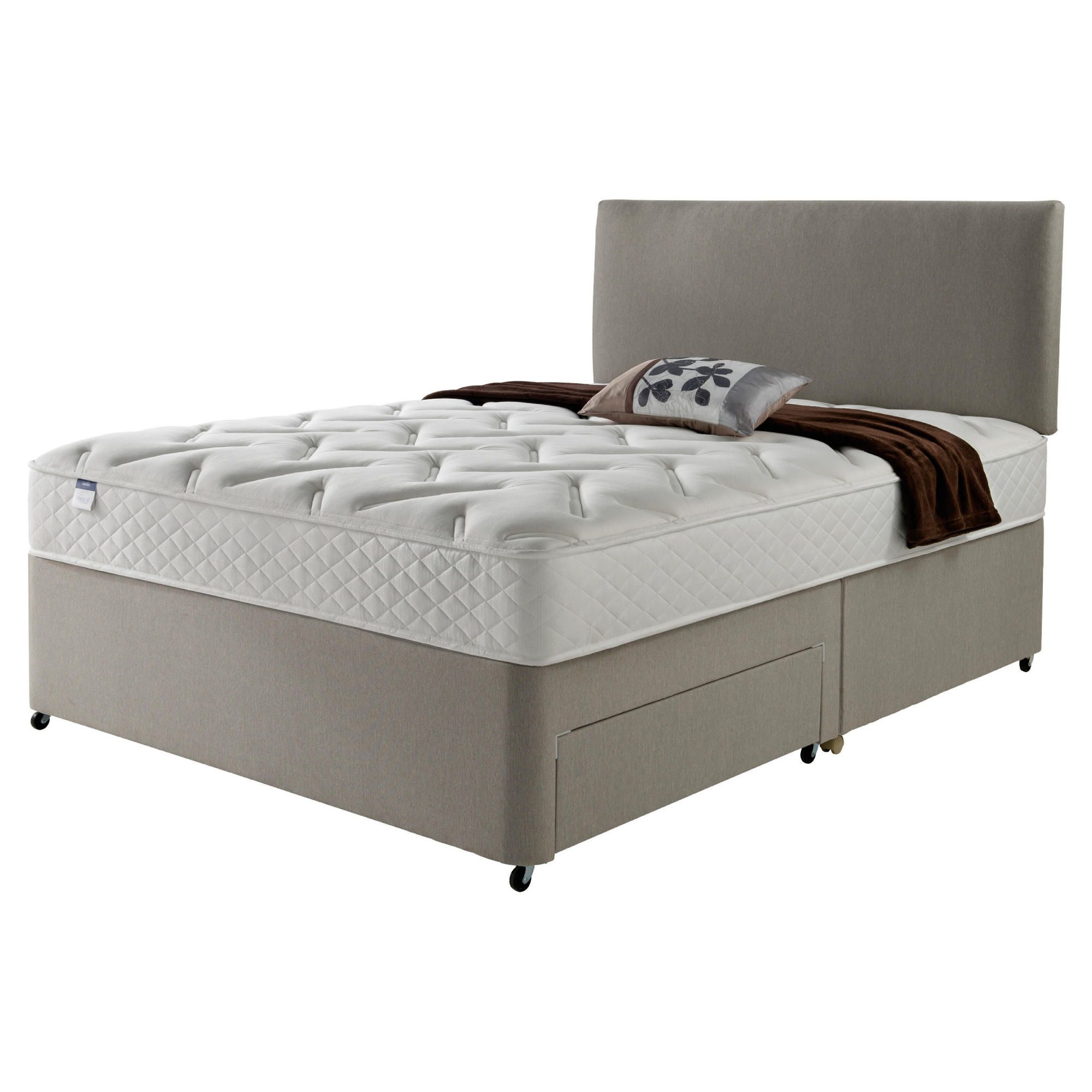 Silentnight Miracoil Luxury Memory Non Storage King Size Divan Mink with Headboard at Tesco Direct