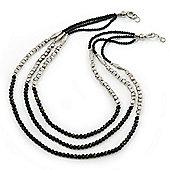 3 Strand Round Black Ceramic & Silver Tone Square Bead Necklace - 74cm Length