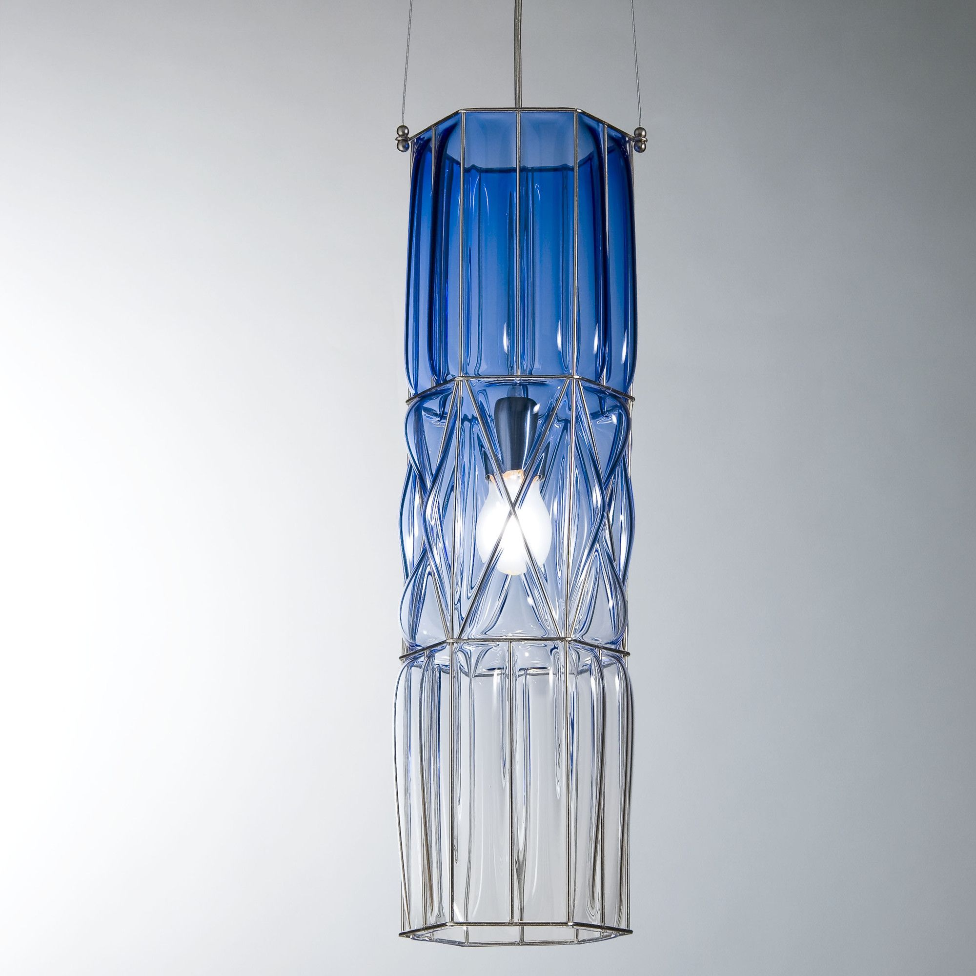 siru retro one light pendant dark blue shaded 60cm