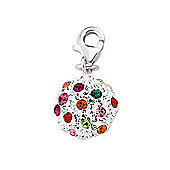 Jewelco London Rhodium Coated Sterling Silver Multi Coloured Crystal Ball Charm