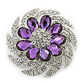 Dimensional Clear/Amethyst Crystal Corsage Brooch In Rhodium Plating - 5cm Diameter