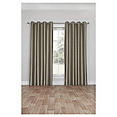 Silk Effect Lined Eyelet Curtains, Duck Egg (66 x 54'') - Mocha