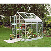 Halls 6x6 Curved Aluminium Greenhouse + Base - Toughened Glass