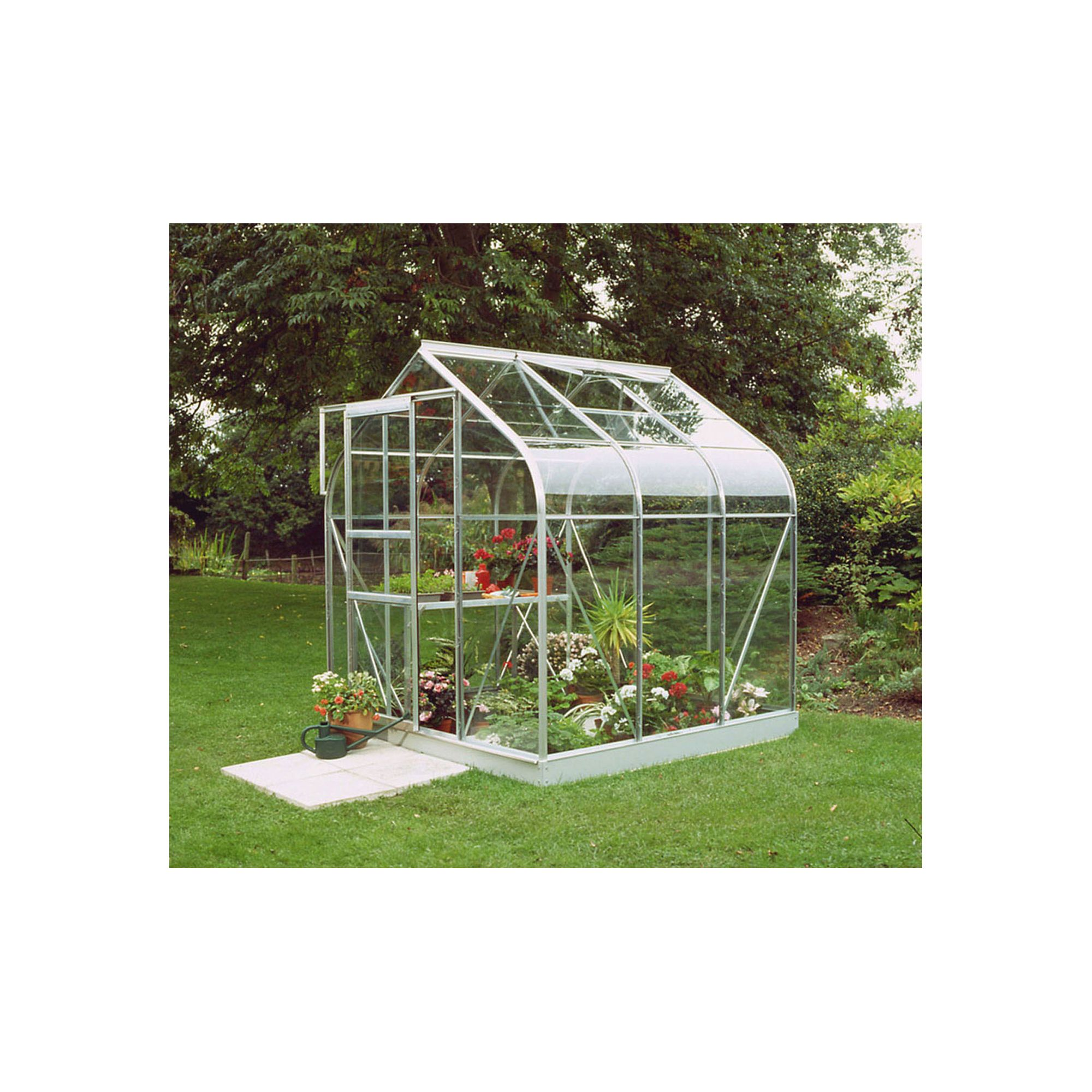 Halls 6x6 Curved Aluminium Greenhouse + Base - Toughened Glass at Tesco Direct