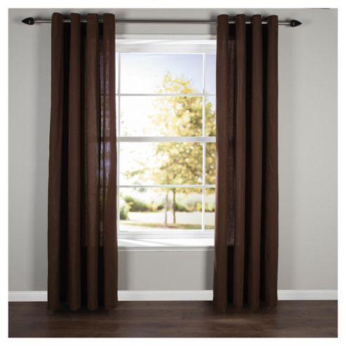 Plain Canvas Eyelet Curtains W117xL183cm (46x72'') - Choc