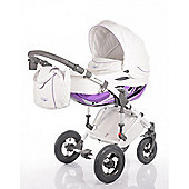 DaVos Moto Style Pure Leather 2 in1 Pram and Pushchair Purple