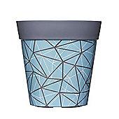 Single 22cm Blue Geometric Plastic Garden Planter 5L Flowerpot by Hum