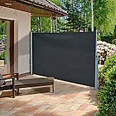 Outsunny Patio Side Awning Retractable Aluminium Frame (3 x 1.6m, Dark Gray)