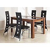 Elements Hudson 5 Piece Dining Set - Walnut/Black