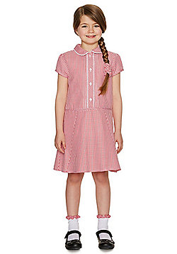 F&F School Girls Gingham Dress with Scrunchie - Red