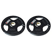 Body Power Rubber Enc Tri Grip OLYMPIC Weight Disc Plates - 10Kg (x2)