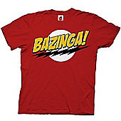 """Official Big Bang Theory """"Bazinga"""" Adults Red T-Shirt - Red"""