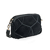 Black Faux Pony Skin Shoulder Bag
