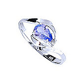 QP Jewellers Diamond & Tanzanite Flare Ring in 14K White Gold