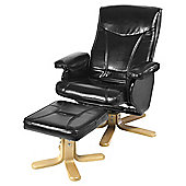 Home Essence Gerontius Recliner with Footstool - Black